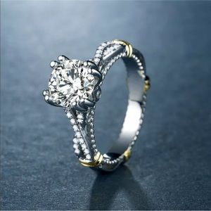 New Gorgeous Women Diamond 925 Silver Wedding Ring